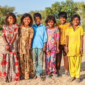 A group of children from a desert village in India.