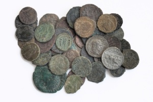 Old coins from a Roman monetary system.