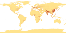 A map of the most densely-populated areas on earth (credit: Wikiepedia)