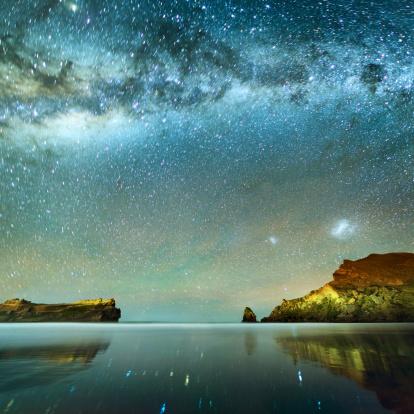 Milky way and rocky coast shot taken at night in New Zealand, long exposure about 2-3 minutes with high ISO.